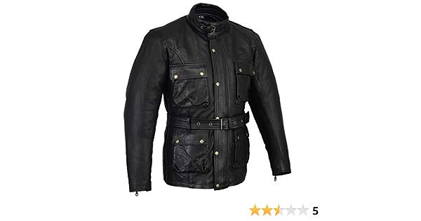 Biker Gear Klassische Vintage Trail Blazer Ce1621 1 Pu Rüstung Motorrad Gewachste Geölte Alter Behandelt Lederjacke Schwarz 5xl Auto