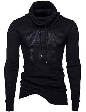 Honghu Casual Jersey para Hombre, Navidad Manga Larga Cuello Alto Suéter Top Tejido Sweater