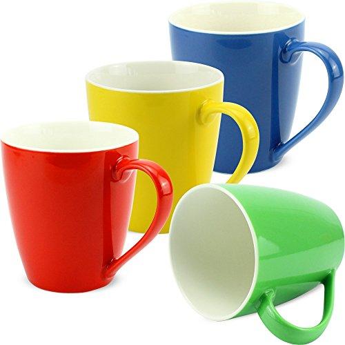 matches21 Tassen Becher Unifarben/einfarbig Set Kaffeetassen Kaffeebecher rot grün gelb dunkelblau Porzellan 4-tlg. Set 10 cm / 350 ml