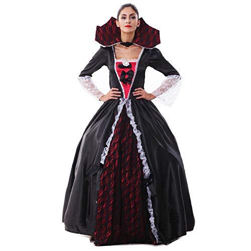 Damen Halloween Ghost Bride Hexenspielanzug Vampire Performance Kostüm (inklusive Außenkleid + Innenrockfutter + Diamantschnalle),Black,M (Ghost Bride Kostüm Halloween)