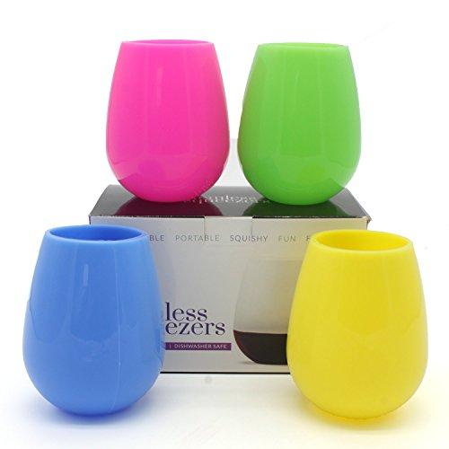 yuyikes Set von 4Silikon Wein Gläser, unzerbrechlich Bruchsichere Flexible Gummi Tassen glamping Party Gear, Drinkware Set für Camping, BBQ, Party-Becher, am Pool 3.2 x 3.2 x 3.7 inches /PCS 4pcs Mix Color