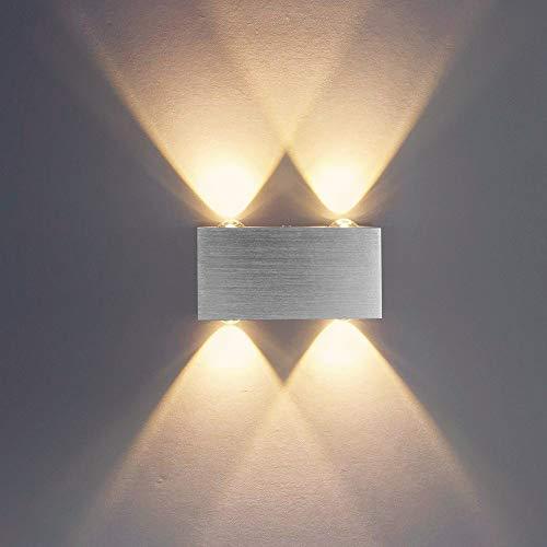 Louvra 4w LED Wandlampe Up und Down Design Moderne Minimalistische Wandleuchte für Cafeteria Wohnzimmer Esszimmer Küche Studie Schlafzimmer Flur Treppen(4xLED enthalten), Kaltweiß/Warmwei