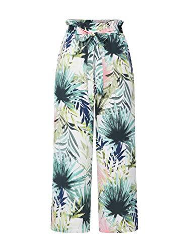 ONLY Damen onlTROPICAL Paperbag Cropped Pant WVN Hose, Mehrfarbig (Cloud Dancer Tropical AOP), W(Herstellergröße: 40) Schuhe Cropped Pants