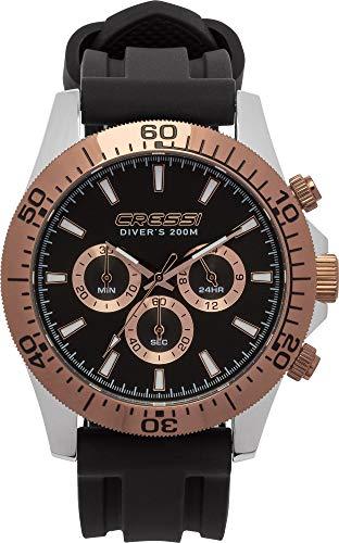 Cressi 1946 Nereus Watch Erwachsene Professionelle Taucheruhren, Schwarz/Bronze, Uni