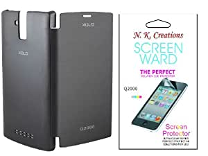 NKCREATIONS BLACK FLIP COVER CASE FOR LAVA XOLO Q2000 + NKCREATIONS SCREEN GUARD COMBO