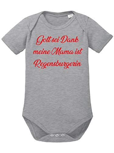 clothinx Gott sei Dank, Meine Mama ist Regensburgerin, Lustiges Fussballmotiv Baby Body Bio Sports Grey Gr. 86-92