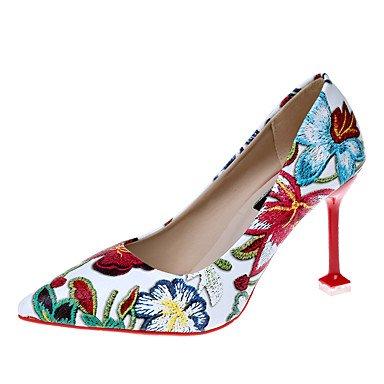 Sanmulyh Femmes Chaussures Pu Printemps Été Confort Nouveauté Talons Stiletto Talon Pointe Bout Rond Fleur Satin Pour Vêtements De Sport Blanc Noir Blanc