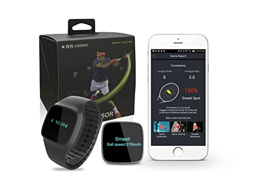 USENSE 2-In-1 Smart Tennis Sensor Wrist Watch Training Aid Swing Data Analyzer Pedometer with Real Time Steps, Mileage, Calories