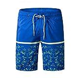 Xmiral Shorts Schwimmen Herren Strand gedruckt Watershort Persönlichkeit Surfen Laufen Schwimmen(L,Blau)