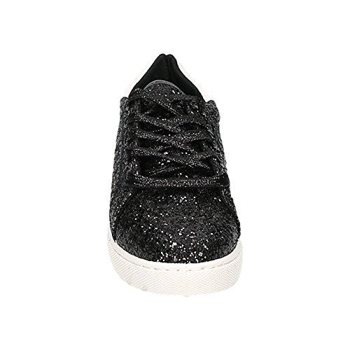 Damen Sneakers Low Schnürer Schnürschuhe Runners Glitzer Glitter Schwarz