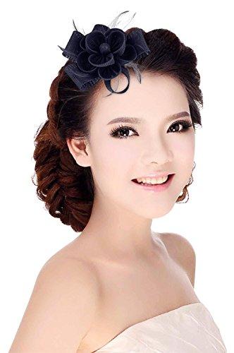 fascinator dunkelblau GEMVIE Damen Fascinator Hochzeit Blumen Haarschmuck Feder Brosche mit Nadel und Haarspange Dunkelblau