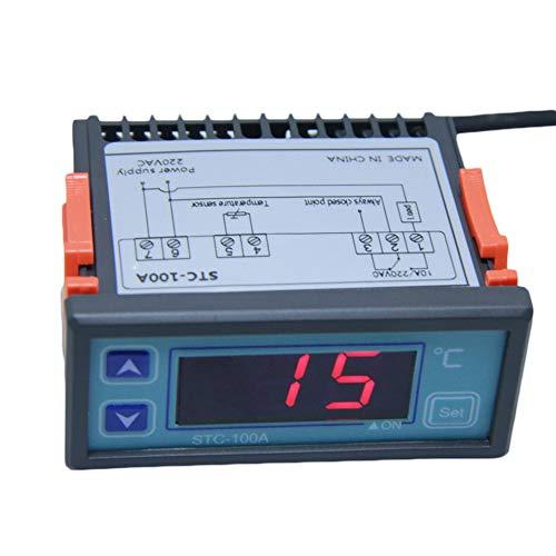 KT-100A Digitalsteuerung Temperatur Mikrocomputer Thermostat Schalter Regler Thermometer Temperaturregler Einstellbar-Schwarz