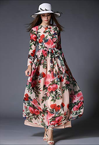 QUNLIANYI ballkleid lang Damen tüll Frau Chiffon Langes Kleid Rose Floral Overlay Print Longue Kleid weibliche Schärpen Herbst Vintage Langarm Plissee Kleid S -