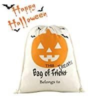 """Halloween Personalized Drawstring Bag Reusable Trick or Treat Candy Sack Bags Canvas Bag Larger Size 13x17"""""""