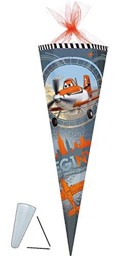 Preisvergleich Produktbild Schultüte - Disney Flugzeuge Planes - 85 cm - Tüllabschluß - Zuckertüte - mit / ohne Kunststoff Spitze - für Jungen - Flugzeug Dusty Skipper Riley Helikopter