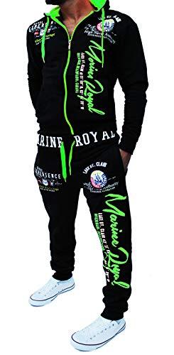 Yalvis Herren Trainingsanzug Jogginganzug Sportanzug Streetwear Jogger Hausanzug A.Marine Royal (schwarz-grün 3XL