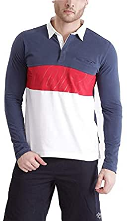 Dream of Glory Inc. Men's Plus Size Full Sleeve Rugby Polo Soft Pique with Sewn Striped Colour Block Glory Printed Sports T-Shirt with Pocket (Navy/Red/White, XS-Chest-36 Inches)
