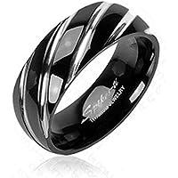 Paula & Fritz Titan anello nero 6/8 mm di larghezza Titan Design anello nero con disegno a intreccio anello misure 47 (15) (23) - 72