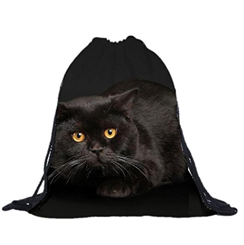 Sannysis bolsos de mujer con cordón, mochila infantil. Geométrico mochila de lona (Negro) (12)