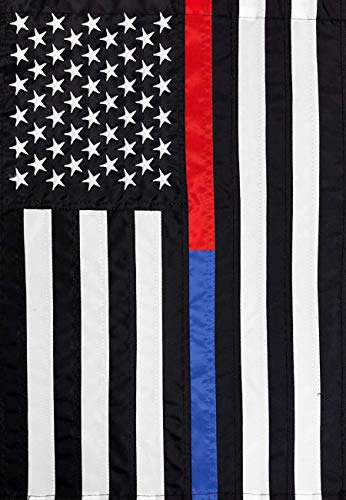 Italian Flag Patches (ASKYE Thin Blue & Red Line Embroidered House Flag Police Fire Department for Party Outdoor Home Decor(Size: 28inch W X 40inch H))