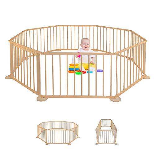 Parque para bebé - de madera - Plegable - Parque móvil - Valla para niños XXL - Barrera de barrera para interior - Escuela para jardín - Plegable - rectangular - Grande