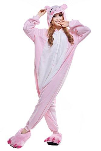 Canasour Pyjamas Kostüm Jumpsuit Tier Schlafanzug Erwachsene Unisex Fasching Cosplay Karneval (S, Pink Pig) (Teen Pig Kostüm)