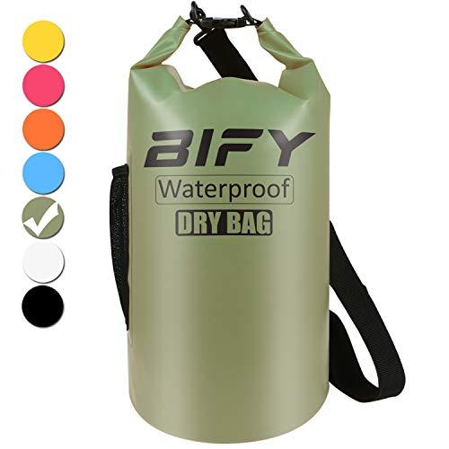 Dry Bag BIFY 5L/10L/15L/20L/25L/30L/40L Leicht Wasserfester Rucksack/Wasserdichte Tasche/Trockensack mit lang Verstellbarer Schultergurt für Boot und Kajak Wassersport Treiben (Armeegrün, 40L)