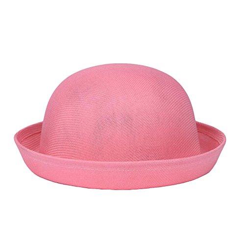 Nanxson Damen Mädchen Melonen Hut Sonnehut Sommer atmungsaktiv Bowlerhut Rolle Brim Hut MZW0130 (Rosa, Eine Size)