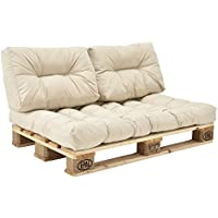 [en.casa] Set de 3 Cojines para sofá-palé - cojín de Asiento + Cojines de Respaldo Acolchados [Beige] para europalé In/Outdoor