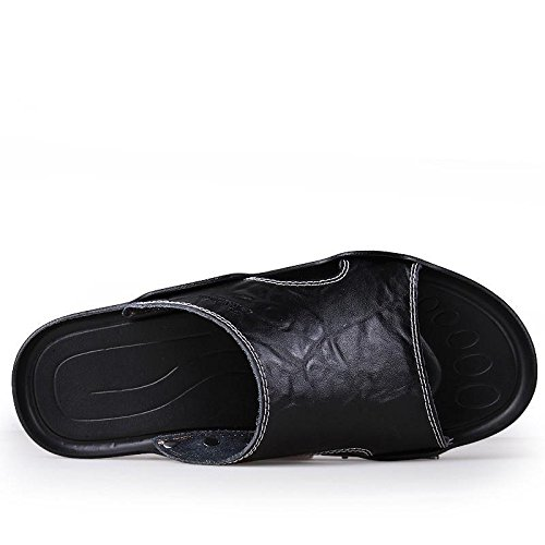 Männer Leder Slipper handgefertigte Vintage Flip Flops Mode und bequeme Sandalen Black