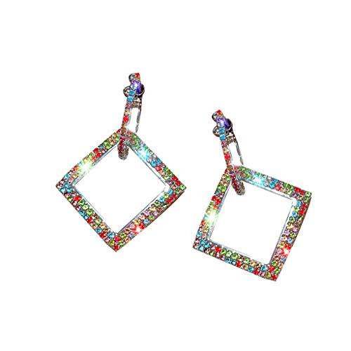Committede Modetrend Geometrische Ohrringe,Damen Anhänger Ohrringe,Kurzer Absatz Ohrringe Temperament Fashion Diamant Farbe Ohrringe Hochzeit Braut Schmuck -