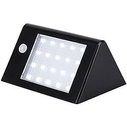 Lampe Solaire, Tsing 20 LED Luminaire Mural 3.5w Détecteur de Mouvement Eclairage de Sécurité Résistant aux Intempéries Lumineux Spot Pour Extérieur (Noir)