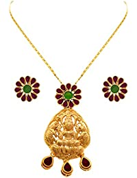 JFL - Traditional Ethnic Temple Goddess Laxmi One Gram Gold Plated Pink & Green Stone Designer Pendant Set With...