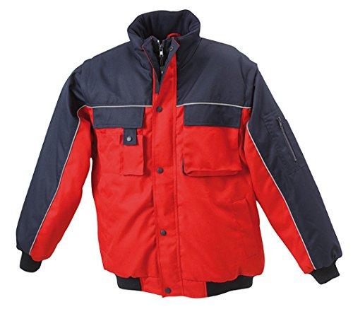 JN810 Workwear Jacket Robuste, wattierte Herrenjacke mit abnehmbaren Ärmeln Red-Navy