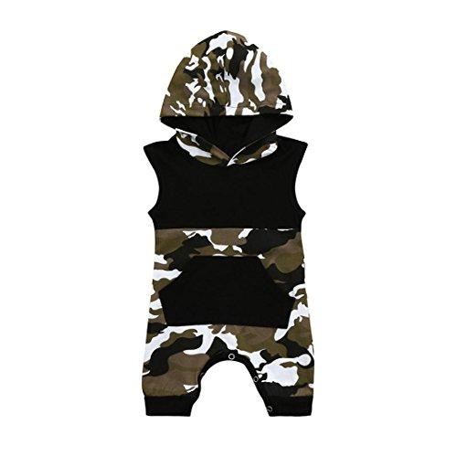 Ärmellos Camouflage (Sunnywill Baby Bekleidung Baby Jungen Mädchen Ärmellose Camouflage Hoodie Tasche Jumpsuit Outfits (Black, 18 monat))