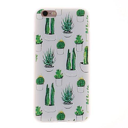 iPhone 6 Plus Hülle,TPU Silikon Defender für iPhone 6s Plus,Ekakashop Bunte Marmor Muster Ultra dünn Slim Transparent Flexible Gel Crystal Klar Case Protective Schutzhülle Durchsichtig mit Niedliche C Kaktus