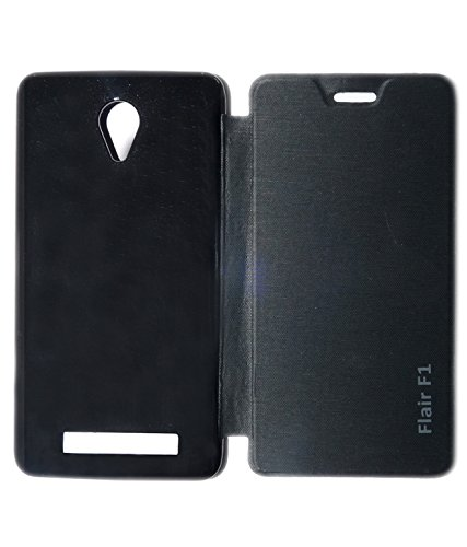 Aara Rich Diary Smart Case Flip Cover Pouch Battery Back For Lava Iris Fuel F1- Black