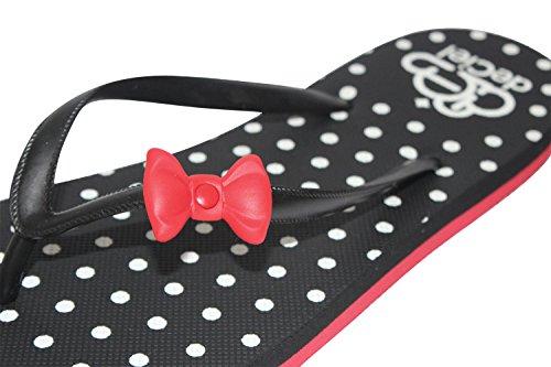 """deCiel """"cute bow"""" Damen Zehentrenner Sandale schick bequem und mit roter Schleife elegant als Sommerschuh Schwarz"""