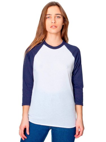 sex Poly / Baumwolle 3/4 HülseRaglan Hemd - White/ Navy - M (Alternative Apparel Raglan)