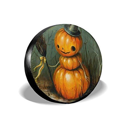 Vbnbvn Reserveradabdeckung, Halloween Pumpkin Witch Potable Polyester Universal Spare Wheel Tire Cover Wheel Covers Jeep Trailer RV SUV Truck Camper Travel Trailer Accessories 14 in