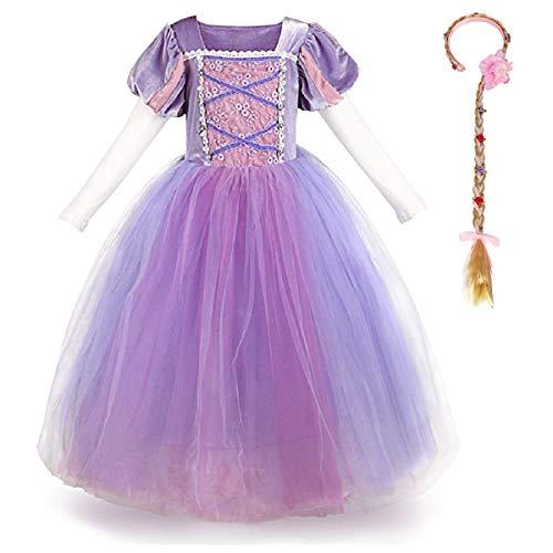 OwlFay Fille Robe de Princesse Raiponce Costume pour Enfants Carnaval Cosplay Déguisements Fête Anniversaire Halloween Noël Costumes vêtements Violet 02 3-4 Ans
