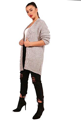 Gris clair Femmes Regan Chunky Cable Knit Cardigan Gris clair