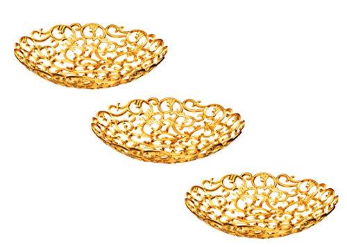 Impressive Creations Servierschale aus Kunststoff mit elegantem Gold-Finish, wiederverwendbar, dekorativ, Vintage-Design Antik 3 Pack Rose Gold Goldene Rose Teller