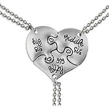 JewelryWe Juego de Collares para Mujeres Niñas, Colgante de Corazón Partido Rompecabezas Collar de Mensajes para Hijas Hermanas, Buen Regalo para Día del Niño/ Los Reyes