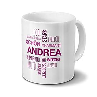Tasse mit Namen Andrea Positive Eigenschaften Tagcloud - Pink - Namenstasse, Kaffeebecher, Mug, Becher, Kaffeetasse