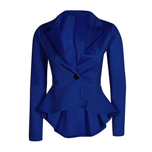 Damen Unregelmäßige kleine Anzugjacke, ESAILQ Neue Damen Crop Frill Shift Slim Fit Peplum Blazer Jacke Mantel (Fischgräten-damen-blazer)