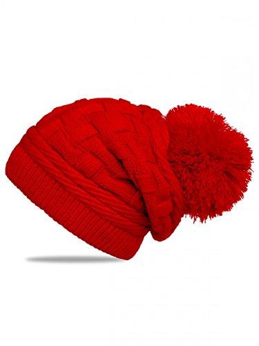 c00fd43a2dca7a CASPAR MU130 Damen Gefütterte Strick Long Beanie mit Zopfmuster und  Wollbommel, Farbe:rot;Größe:One Size