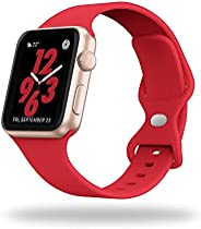 Compatible with Apple Watch Bands 38mm 40mm 42mm 44mm for Women Men Soft Silicone Sport Replacement Wristband