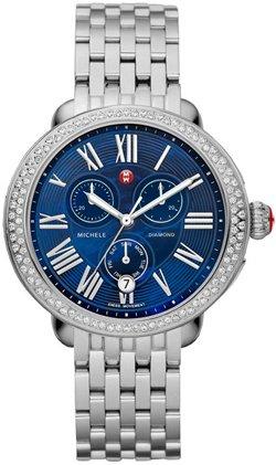 Michele Women's Signature Diamond 38mm Steel Bracelet & Case Quartz Blue Dial Analog Watch MWW21A000026