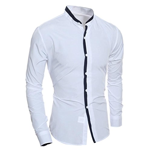 Herren T-shirt Xinan Print Slim Langarm Bluse Top Weiß
